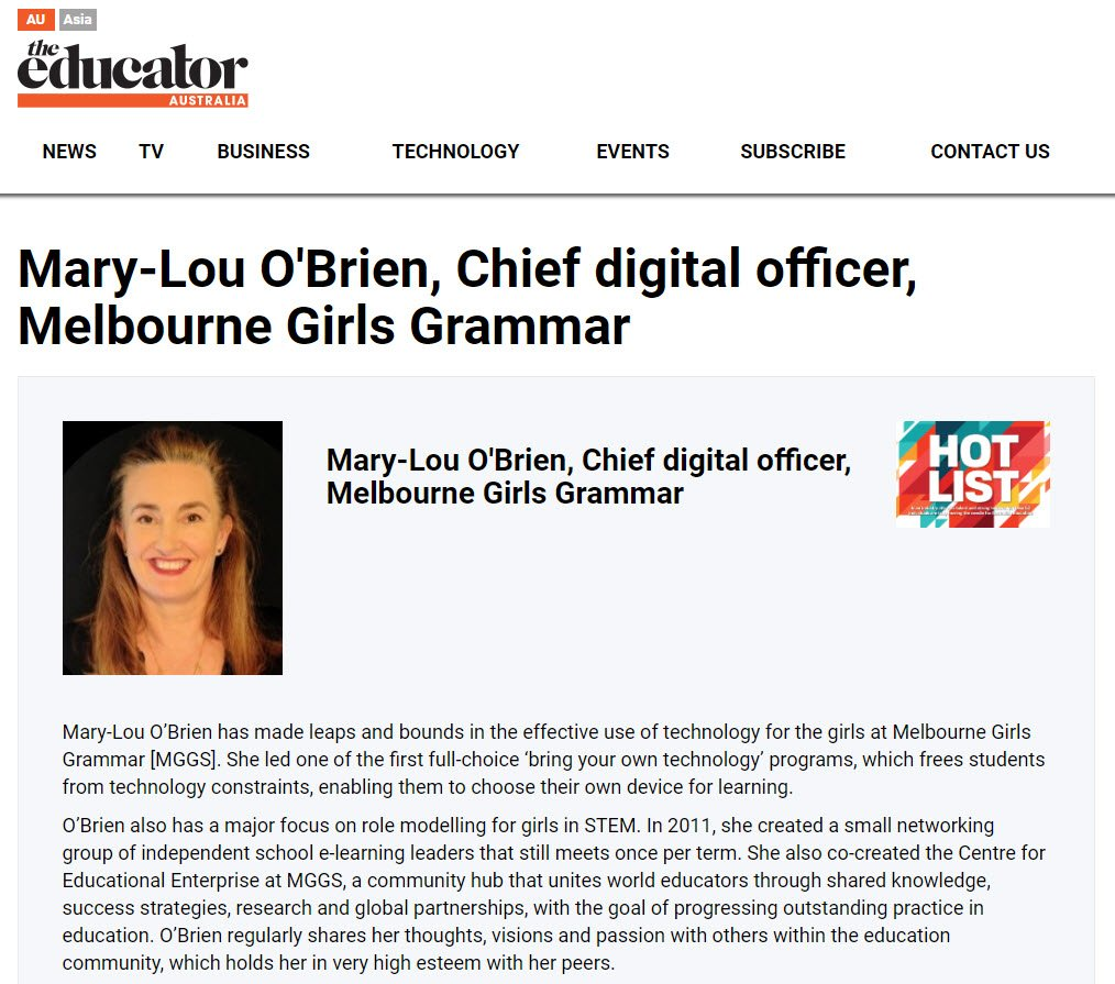 Mary-Lou is also a Finalist in the CIO of the Year Awards to be announced in November